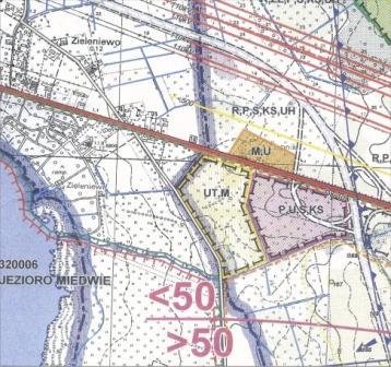 Fragment planu z Strudium Uwarunkowań i Kierunków Zagospodarowania Przestrzennego Gimny Stargard Szczeciński